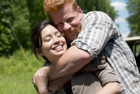 Michael Cudlitz and Christian Serratos - The Walking Dead _ Season 6, Episode 1 _ BTS - Photo Credit: Gene Page/AMC