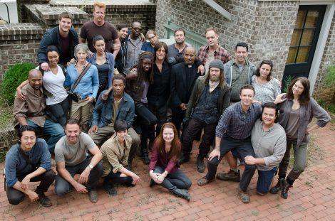 Steven Yeun as Glenn Rhee, Andrew Lincoln as Rick Grimes, Sonequa Martin-Green as Sasha, Melissa McBride as Carol Peletier, Corey Hawkins as Heath, Michael Cudlitz as Abraham, Danai Gurira as Michonne, Alanna Masterson as Tara Chambler, Lennie James as Morgan, Seth Gilliam as Father Gabriel, Lauren Cohan as Maggie Greene, Josh McDermitt as Dr. Eugene Porter, Ross Marquand as Aaron, Merritt Wever as Dr. Denise Cloyd, Tom Payne as Jesus, Jeremy Palko as Andy, Jason Douglas as Tobin, Mandi Kerr as Barbara, and Norman Reedus as Daryl Dixon - The Walking Dead _ Season 6, Episode 11 - Photo Credit: Gene Page/AMC