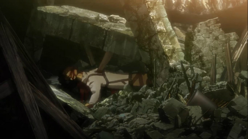 Attack on Titan Debris fatally traps soldier