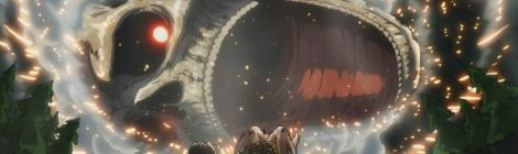 Attack on Titan Colossal titan's jaws descend on Eren