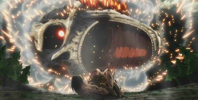 Attack on Titan Colossal titan's jaws descend on Eren